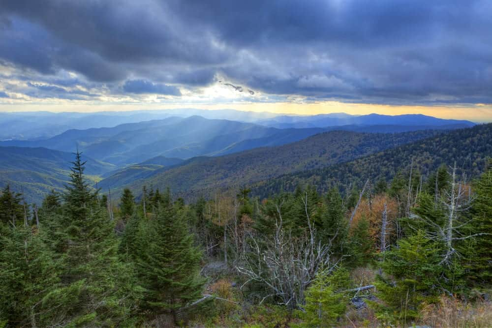 view of Great Smoky Mountains from secluded Gatlinburg cabin