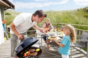 family cooking in a Gatlinburg cabin rental