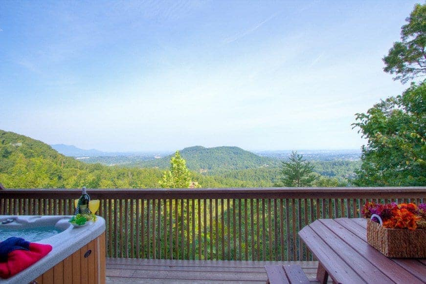 Breathtaking photo taken on the deck of onoe of our Gatlinburg cabins with a mountain view.