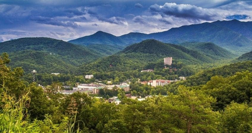 A scenic photo of Gatlinburg in the mountains.
