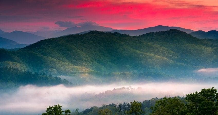 Stunning sunset photo in the Smoky Mountains.