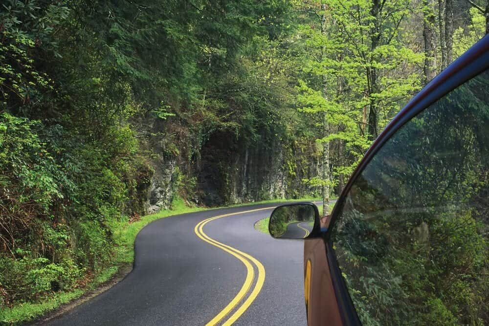 car driving on road in Smoky Mountains
