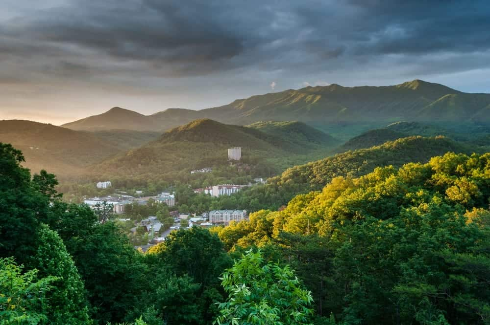 scenic view of gatlinburg with early sunrise