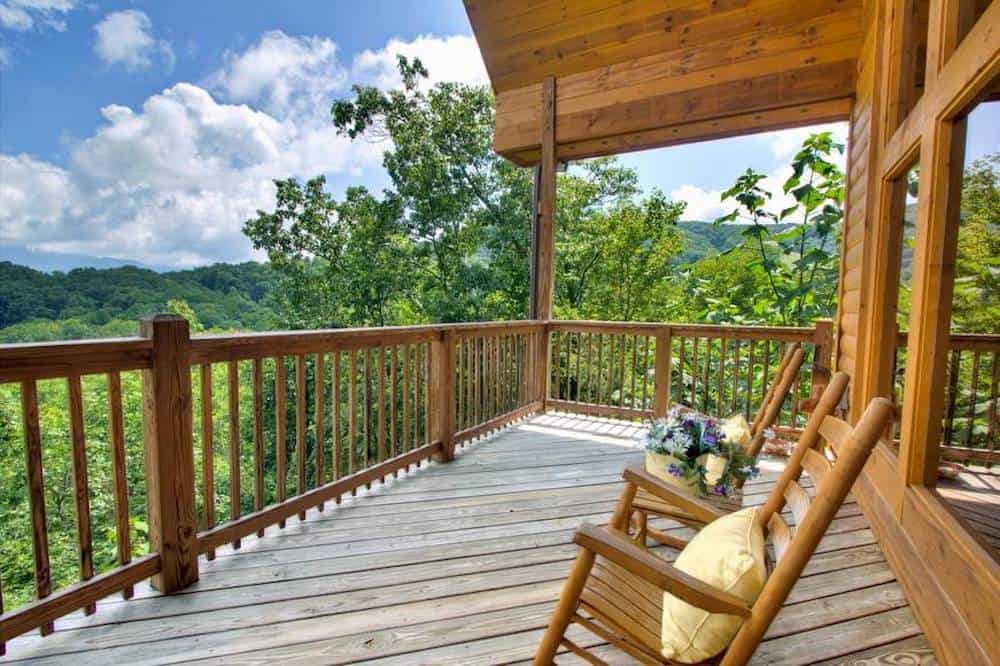cabin deck with mountain view